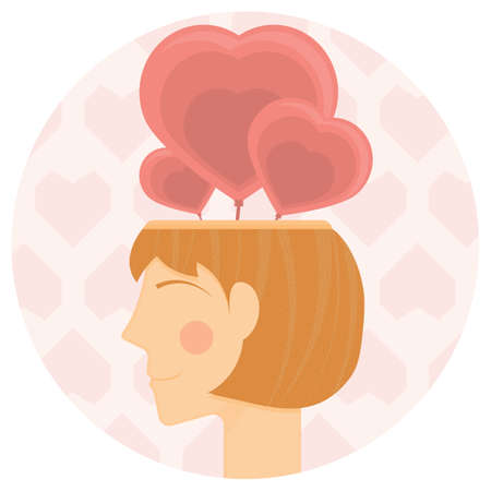 blushing: woman with hearts in her head