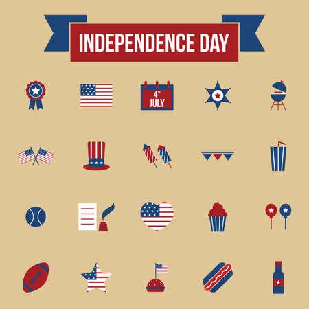 dog pen: usa independence day icons Illustration