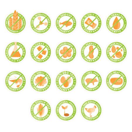 no cholesterol: collection of guarantee label Illustration