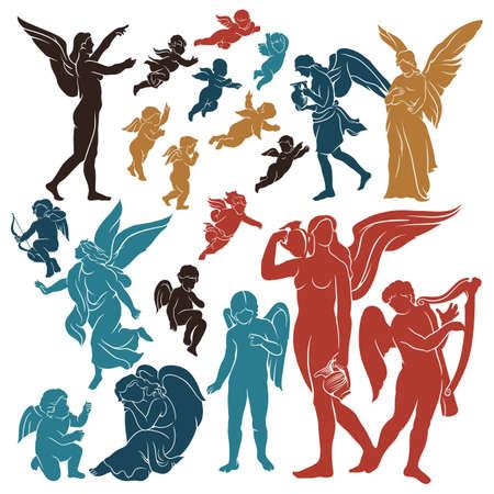 conjunto de siluetas de ángel