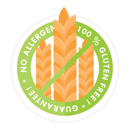 allergen: no allergen and gluten free label Illustration