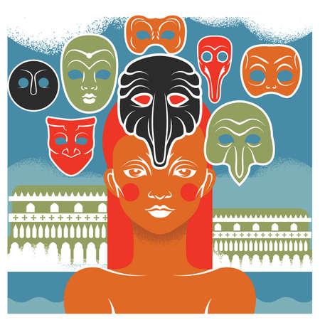 mascaras de carnaval: mujer con m�scaras de carnaval