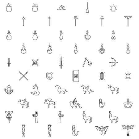 three headed: set of fantasy icons