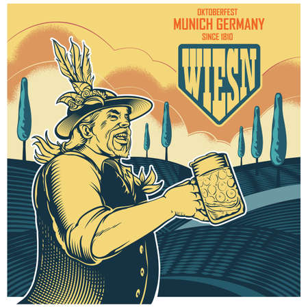 bebidas alcohÓlicas: oktoberfest diseño del cartel Vectores