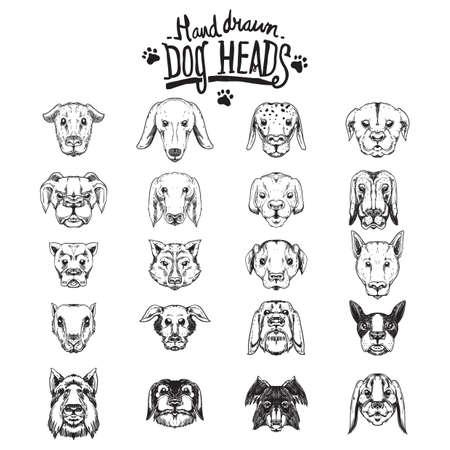 animal heads: dog icons collection Illustration