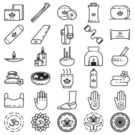 yoga pillows: assorted yoga and zen set Illustration