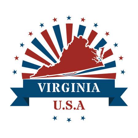 virginia: virginia state map label Illustration