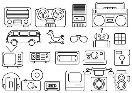 video cassette tape: retro icons Illustration