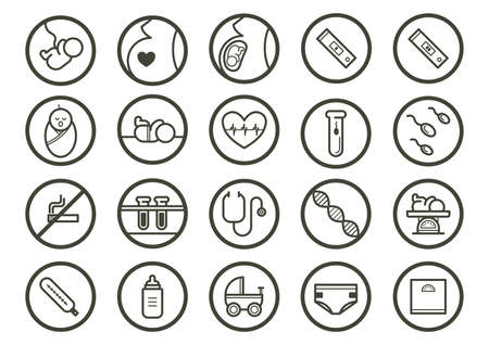 test tube baby: baby icon set