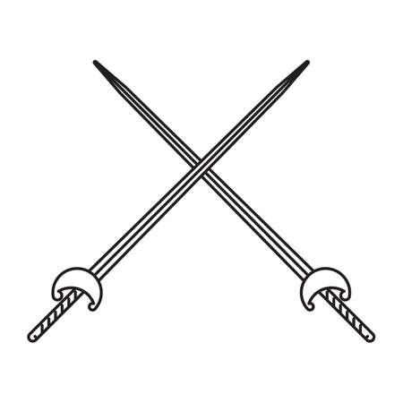 fencing: crossed fencing sword Illustration