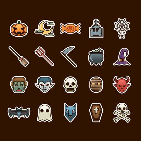 devil's bones: halloween icon set