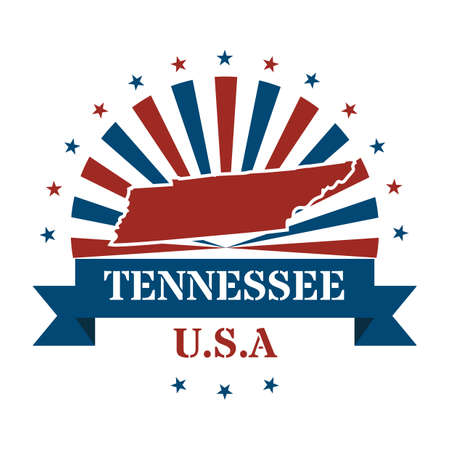 tennesse: Mapa del estado de Tennessee etiqueta Vectores