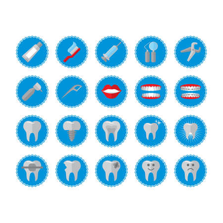 cavity braces: collection of dental icons