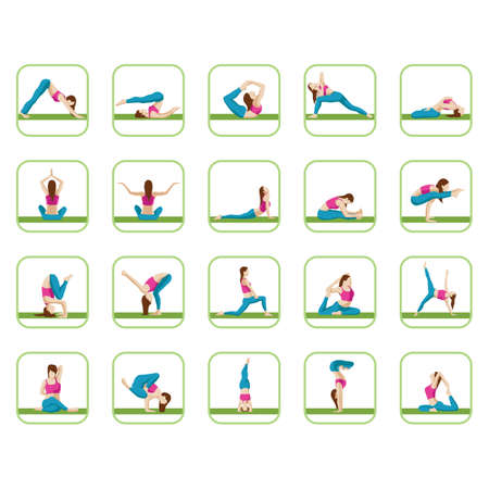 faced: collection of yoga poses Illustration