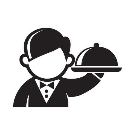 Kellner mit einem Cloche