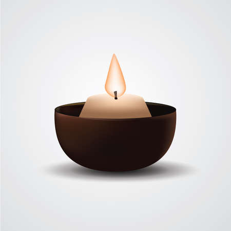candle holder: burning candle in holder