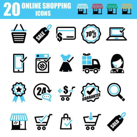 iconos de compras en línea Ilustración de vector