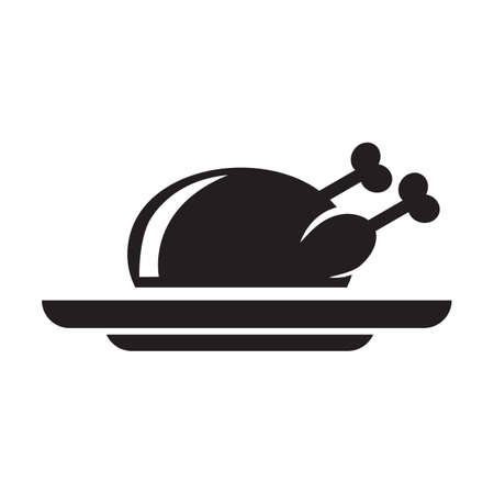 roasted chicken on a plate Illustration
