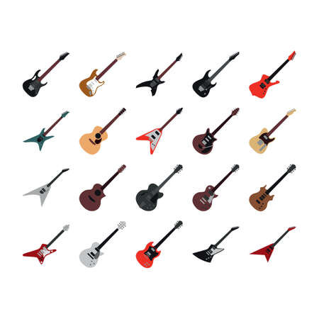 electric guitars: collection of electric guitars and classical guitars Illustration