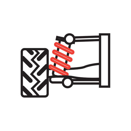 spare part: car tire and shock absorber Illustration