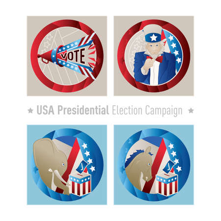presidential: usa presidential election campaign icons