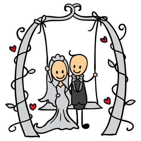 wedding couple on a swing 矢量图片