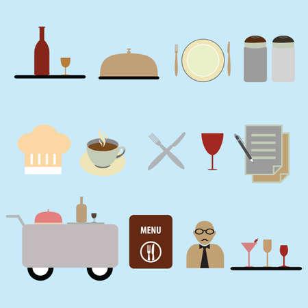 dining set: set of waiter icons