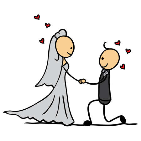 bridegroom proposing to the bride Illustration