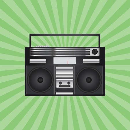 tape recorder: retro tape recorder Illustration