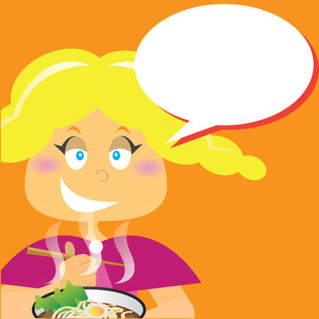noodles: woman eating noodles Illustration