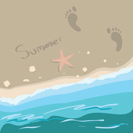 footprints in sand: beach background Illustration