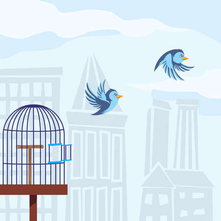 cage birds: birds flying from cage