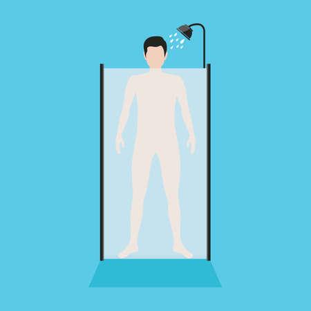 taking shower: man taking shower