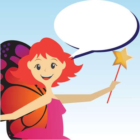 girl magic wand: girl holding magic wand Illustration