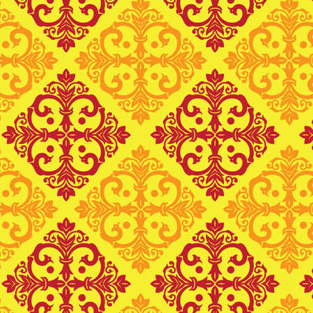 maroon: damask vintage yellow and maroon pattern Illustration