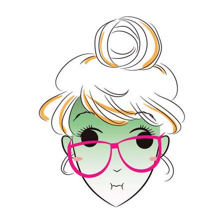 feeling: girl feeling unwell Illustration