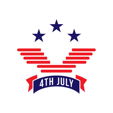 fourth of july: fourth july label Illustration