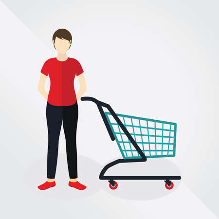 woman shopping cart: woman with shopping cart Illustration