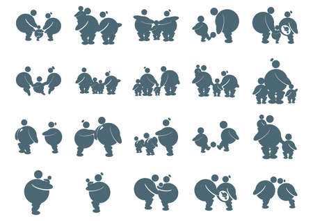 plating: fat family icons Illustration
