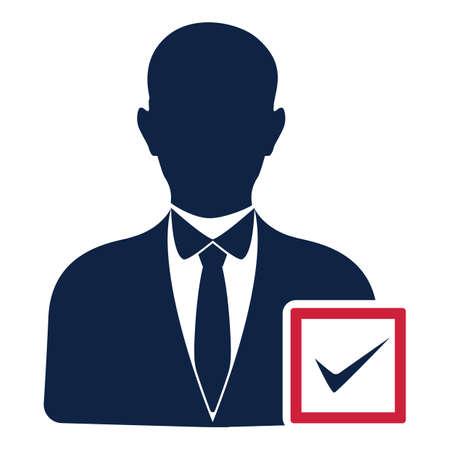 avatar de candidato a las elecciones con una marca de verificación Ilustración de vector