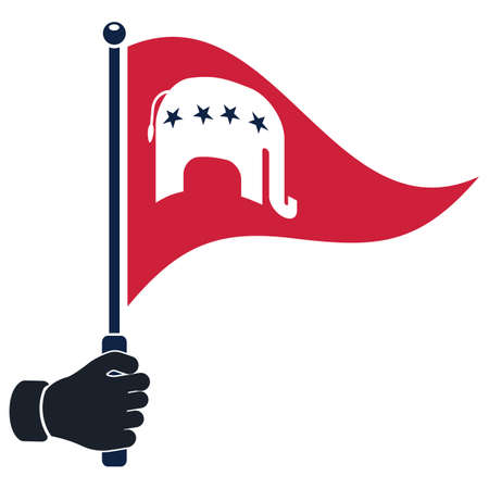 republican: hand holding republican party flag