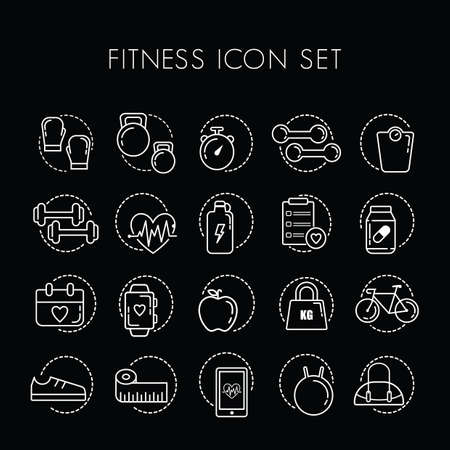 boxing tape: set of fitness icons