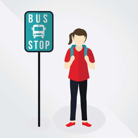 bus stop: girl waiting at bus stop Illustration