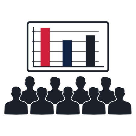 Menschen, die Wahlergebnisse zu beobachten Vektorgrafik