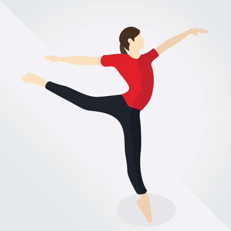 woman side view: woman doing ballet dance Illustration