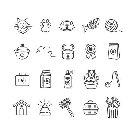 food and beverage: set of cat icons