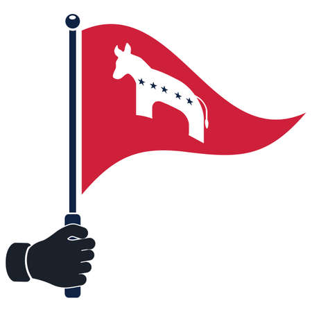 democrat party: hand holding democrat party flag Illustration