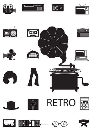pager: retro icons Illustration