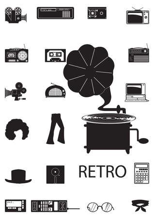 retro icons Illustration