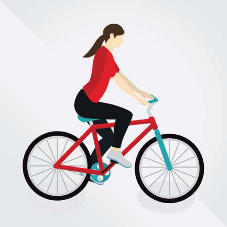 pedaling: woman cycling Illustration
